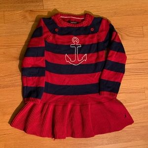 Nautica Anchor Striped Red Navy dress size 5 girls